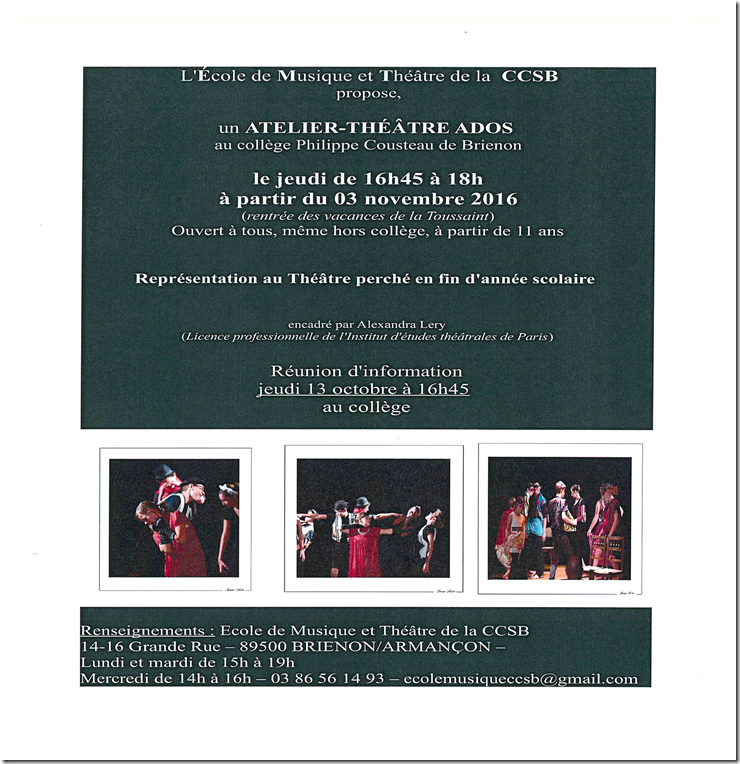 Atelier-Théâtre Ados | Brienon-sur-Armançon
